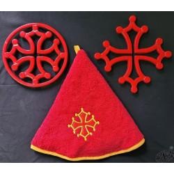 Lot dessous-de-plat croix occitane et essuie-mains rond éponge croix occitane