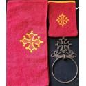Lot serviette de toilette+ gant +porte-serviette fonte avec croix occitane