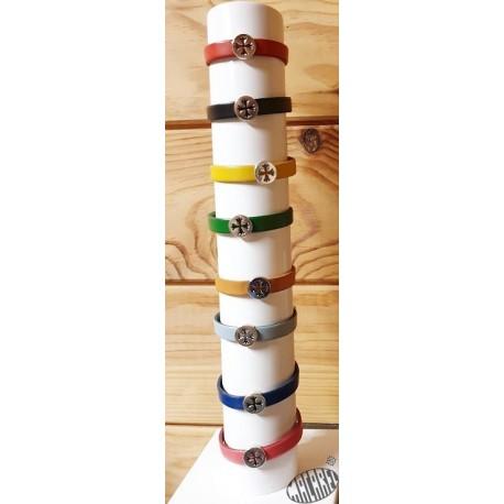 Bracelet cuir réglable et croix occitane plaquée argent