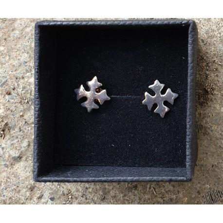 Boucles d'oreilles type bouche-trous croix occitane argent massif petit modèle