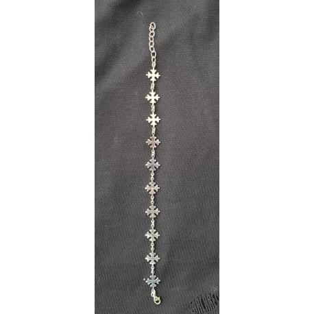 Bracelet argent massif croix occitanes pleines