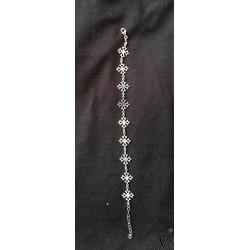 Bracelet argent massif croix occitanes évidées
