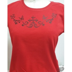 T-shirt Femme croix occitanes et papillons