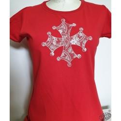 T-shirt Femme croix occitane dentelle