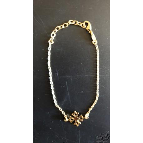 Bracelet plaqué or 1 chaînette avec croix occitane