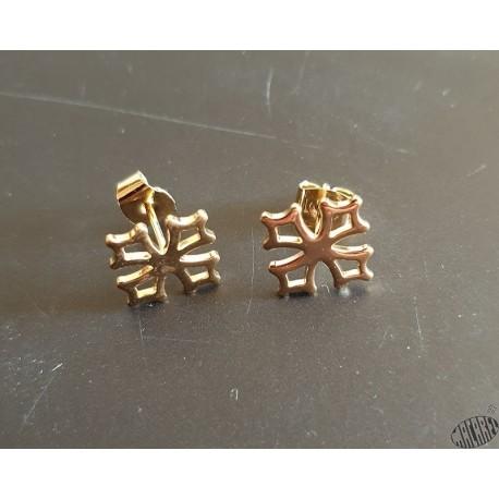Boucles d'oreilles croix occitane type bouche-trou ou puce, en plaqué or