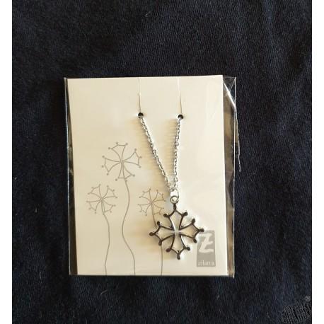 Collier croix occitane métal argenté et chaîne acier