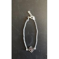 Bracelet croix occitane 1 chaînette en argent rhodié