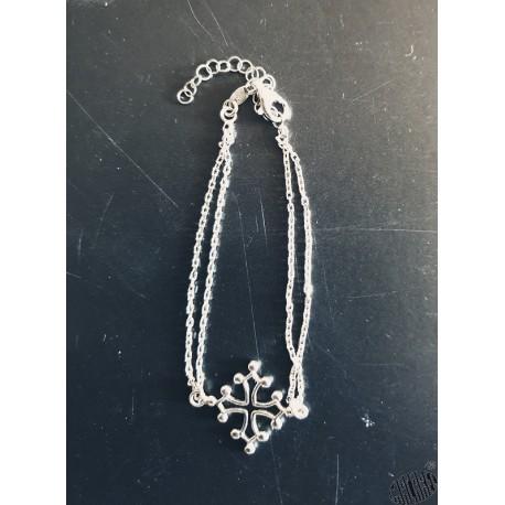 Bracelet croix occitane 2 chaînettes en argent rhodié