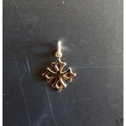 Pendentif croix occitane 13mm en plaqué or