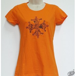 T-shirt Femme Croix occitane dentelle orange