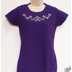 T-shirt Femme violet croix occitanes aux papillons