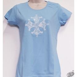 T-shirt Femme Croix occitane dentelle bleu pâle