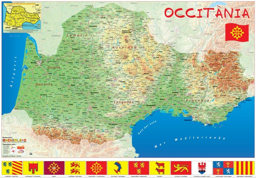 Carte Occitanie - Langue d'Oc